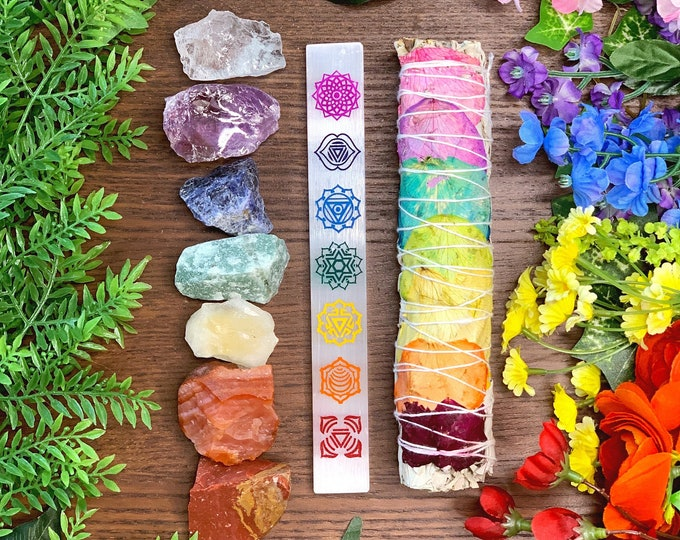 Featured listing image: 7 Chakras Crystal Gift Set | 7 Chakra Crystals, Sage Smudge & Selenite Wand | Beginner Crystal Set, Spiritual Gift for Her, Crystal Kit
