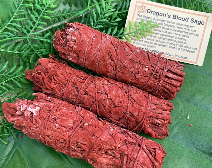 Featured listing image: DRAGON'S BLOOD SAGE Smudge Stick | Sage Bundle for Ceremony, Meditation, Altar, Home Cleansing, Wicca Smudging Kit | Mayan Rose