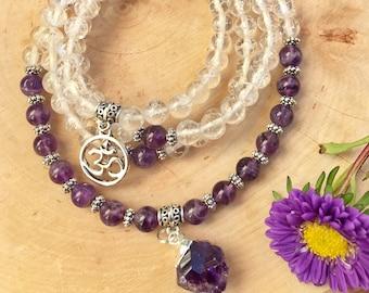 AMETHYST & CLEAR QUARTZ Mala Beads | 108 Mala Necklace for Meditation, Yoga, Prayer Beads | Raw Amethyst Pendant | Amethyst Mala Third Eye