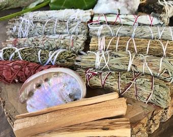 SAGE GIFT SET | 11 Bundles Smudge Kit | White Sage, Blue Sage, Lavender, Cedar, Palo Santo | Cleanse Protection Altar Ritual, Smudging Kit
