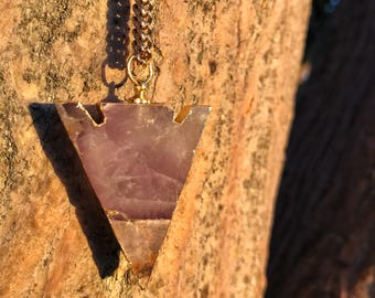 AMETHYST Arrowhead Necklace on Antique Gold Chain | Natural Polished Purple Amethyst Arrow Pendant, Unisex Crystal Healing Quartz Necklace