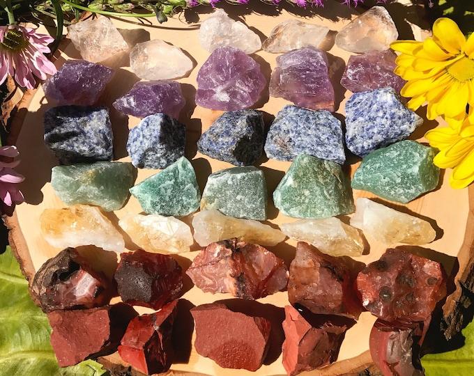 Featured listing image: 7 CHAKRAS Raw Crystals - Red Jasper, Carnelian, Citrine, Green Aventurine, Sodalite, Amethyst, Clear Quartz | Reiki, Healing, Chakra Crystal