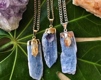 BLUE KYANITE & AMETHYST Crystal Necklace on Antique Gold Chain | Natural Kyanite Blade Pendant, Amethyst Crystal  Necklace | Mayan Rose