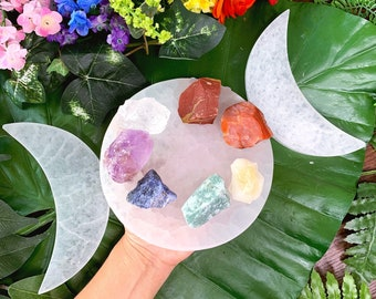 "Triple Moon Goddess 6"" Selenite Charging Plate w/ 7 Chakra Stone Set 