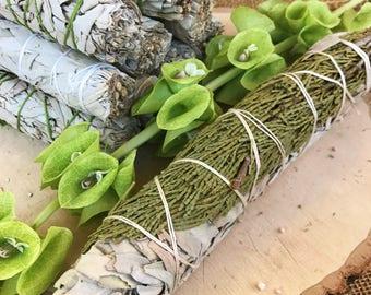 JUMBO CEDAR & SAGE Smudge Stick | Large White Sage Bundle | Meditation Altar, Home Cleansing, Positive Energy, Cleanse, Wicca Smudge Kit