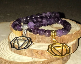 THIRD EYE Chakra Bracelet - AMETHYST for Intuition & Awareness | Sixth 6th Chakra Ajna  | 7 Chakras Bracelet Sacred Geometry