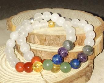 7 CHAKRAS Quartz Bracelet - Crystal Healing Chakra Bracelet | Red Jasper, Carnelian, Citrine, Aventurine, Lapis Lazuli, Amethyst Labradorite