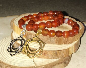 SACRAL CHAKRA Bracelet - CARNELIAN for Abundance, Creativity | Second 2nd Chakra Svadhisthana Charm | 7 Chakras Bracelet Mayan Rose