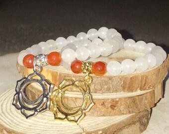 SACRAL CHAKRA Quartz Bracelet - CARNELIAN for Abundance, Creativity | Second 2nd Chakra Svadhisthana Charm | 7 Chakras Bracelet Mayan Rose