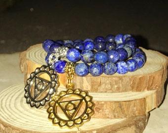 THROAT Chakra Bracelet - LAPIS LAZULI for Truth & Communication | Fifth 5th Chakra Vishuddha  | 7 Chakras Bracelet Sacred Geometry