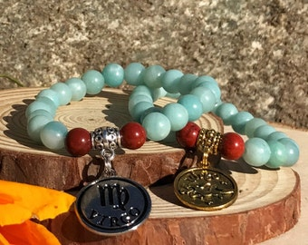 VIRGO Bracelet | AMAZONITE & Red JASPER Crystal Healing Zodiac Bracelet | September Birthstone | Astrology Gifts, Zodiac Jewelry Zodiac Gift