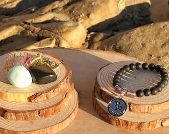 CAPRICORN Zodiac Gift Set 1 | ONYX & FLUORITE Crystal Healing Bracelet | December January Birthstone | Astrology Gifts, Zodiac Jewelry