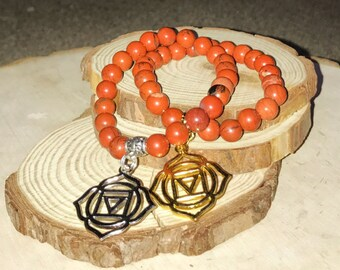 ROOT CHAKRA Bracelet - Red Jasper for Grounding, Protection | First 1st Chakra Muladhara Charm | Sacred Geometry | 7 Chakras | Mayan Rose
