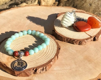 VIRGO Zodiac Gift Set 1 | AMAZONITE & Red JASPER Crystal Healing Bracelet | August September Birthstone | Astrology Gifts, Zodiac Jewelry