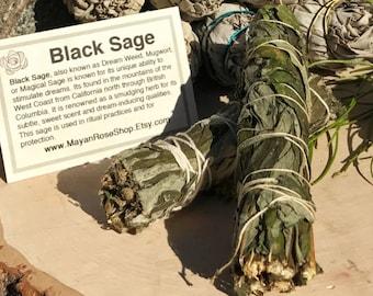 BLACK SAGE Smudge Stick aka Mugwort | Sage Bundle for Ceremony, Meditation, Altar, Home Cleansing, Positive Energy Cleanse, Wicca Smudge Kit