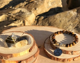 GEMINI Zodiac Gift Set 1 | TIGER EYE & Citrine Crystal Healing Bracelet | May June Birthstone | Astrology Gifts, Zodiac Jewelry Astrological