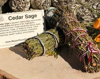 CEDAR SAGE Smudge Stick | Sage Bundle for Ceremony, Meditation, Altar, Home Cleansing, Positive Energy, Cleanse, Wicca Smudging Kit
