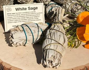 WHITE SAGE SMUDGE Stick | Sage Bundle for Ceremony, Meditation Altar, Home Cleansing, Positive Energy, Cleanse Negativity,Wicca smudging Kit