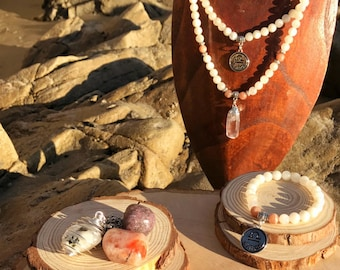 LIBRA Zodiac Gift Set 2 | MOONSTONE & SUNSTONE| September October Birthstone | Mala Necklace Bracelet, 108 Mala Beads, Astrology Gifts