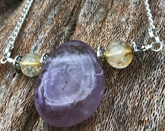 Amethyst & Citrine Crystal Necklace on Antique Silver Chain | Natural Amethyst Teardrop Pendant, Third Eye Crystal Healing Gemstone Necklace