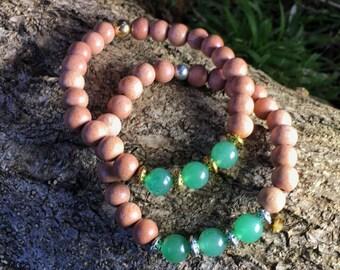 Heart Chakra Bracelet | 4th Fourth Chakra Bracelet with Rosewood & Green Aventurine for Love, Prosperity | 7 Chakras Bracelet by MayanRose
