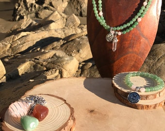 TAURUS Zodiac Gift Set 2 | Green Aventurine & Rose Quartz | April May Birthstone | Mala Necklace Bracelet, 108 Mala Beads, Astrology Gifts