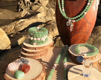 TAURUS Zodiac Gift Set 3 | Green Aventurine & Rose Quartz | April May Birthstone | Mala Necklace Bracelet, 108 Mala Beads, Astrology Gifts