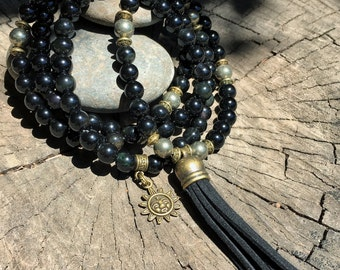 OBSIDIAN & PYRITE Mala Beads with BLACK Suede Tassel | 108 Bead Crystal Mala Yoga Necklace | Om, Meditation Beads by Mayan Rose MayanRose
