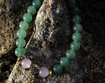 Green Aventurine & Rose Quartz Bracelet with Om Aum Charm| For Love, Prosperity, Gratitude | Heart Chakra 4th Fourth Chakra