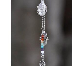 7 Chakras Necklace with OM & Hamsa Hand | Crystal Cage Necklace | Seven Chakra Crystals | Crystal Healing Yoga Jewelry Hand of Fatima