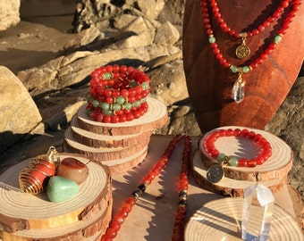 ARIES Zodiac Gift Set 3 | Carnelian & Green Aventurine | March April Birthstone | Mala Necklace Bracelet, 108 Mala Beads, Astrology Gifts