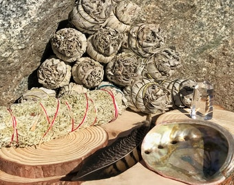 SAGE SMUDGE KIT | Abalone Shell, Feather, Quartz Point, Sage Bundle for Altar, Home Cleansing, Positive Energy, Wicca Smudging Kit, Incense