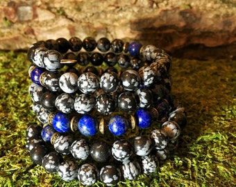 Unisex Mala Beads | SNOWFLAKE OBSIDIAN & LAPIS Lazuli 108 Bead Mala Bracelet for Meditation | Mens Men's Yoga Beads for Men |Wrist Mala