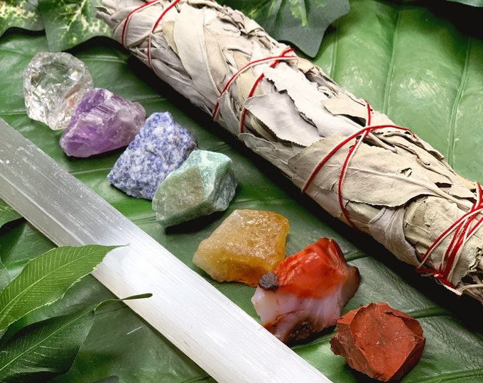 Featured listing image: 7 Chakras Raw Crystal Gift Set | w/ 9 in. Sage Bundle & Selenite Wand | Chakra Crystals Spiritual Gift Metaphysical Tool |