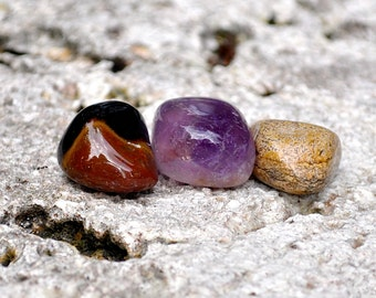 AQUARIUS Set of 3 Crystals | Picasso Jasper, Amethyst, Tiger Eye | Gemstones Astrology Zodiac, Meditation Yoga, January February Birthday