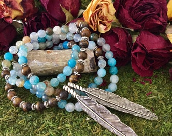 Yoga Beads Feather Necklace | Blue Agate Tiger Eye 108 Bead Mala w/ Native American Tribal Feathers | Yoga Mala for Meditation by MayanRose