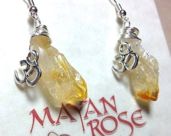 Om Earrings | Raw Citrine Earrings with OM Yoga charm | Aum Earrings | Ohm Earrings | Yoga Earrings | Yoga Gift | Yoga Teacher Gift | Chakra