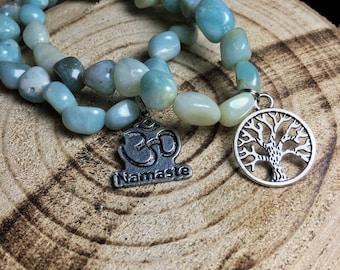 AMAZONITE Tumbled Crystal Bracelet  - Choose Charm: Ankh Cross, Eye of Ra, Goddess Isis, Om Aum Symbol, Tree of Life, Hamsa