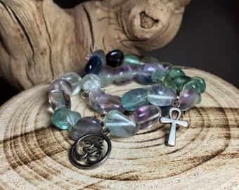 FLUORITE Tumbled Crystal Bracelet  - Choose Charm: Ankh Cross, Eye of Ra, Goddess Isis, Om Aum Symbol, Tree of Life, Hamsa