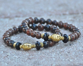 Unisex Buddha Bracelet | Mahogany Obsidian | Men's Mens Meditation Yoga Jewelry | Zen Bracelet | Gift for Him Men | Root Chakra 1st First