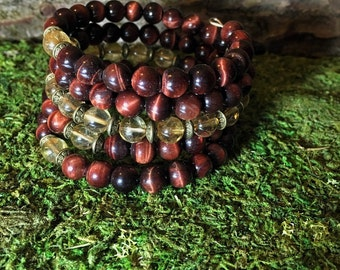 108 Mala Bracelet | RED TIGER EYE & Citrine Mala Beads | Unisex Wrist Mala | Yoga Beads, Meditation Beads | Mala for Men, Men's Mala