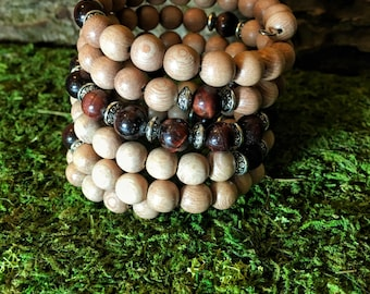 RED TIGER EYE & Rosewood Mala Bracelet | 108 Mala Beads | Unisex Wrist Mala | Mala Bracelet | Yoga Meditation Prayer Beads, Wrap Bracelet