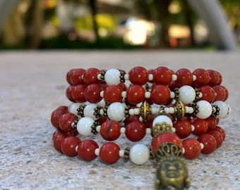 108 Mala Beads - Red Jasper & Mother of Pearl Wrist Mala - Mala Bracelet, Meditation Beads, Yoga Beads, Prayer Beads, 108 Mala, Buddha Mala