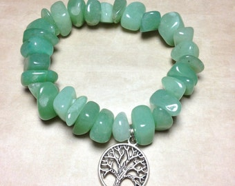 GREEN AVENTURINE Bracelet - Heart Chakra -Choose Charm: Hamsa Hand, Yoga Om Symbol Namaste, Tree of Life - 4th Chakra Natural Stone Tumbled