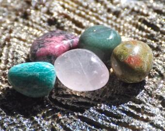 HEART CHAKRA 4th Crystals Love & Compassion - Natural Tumbled Polished Gemstones - Amazonite, Rhodonite, Rose Quartz, Unakite, Aventurine
