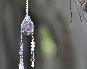 Crystal Cage Necklace with Rose Quartz & Amethyst on Silver Chain - Crystal Chakra Healing Gemstone Necklace - Angel Wings - Custom Length