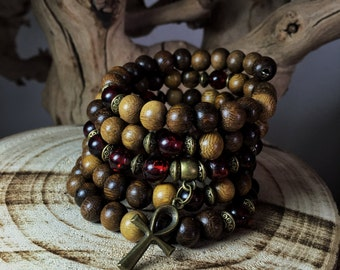 108 Mala | Unisex Mala Bracelet  | Amber & Wood Wrist Mala Beads |  Men's Mens Yoga Meditation Beads, Egyptian Bracelet | Mayan Rose