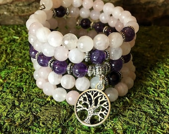 Rose Quartz & Amethyst Mala Beads | 108 Bead Crystal Wrist Mala | Mala Bracelet | Meditation Beads | Prayer Beads | Heart Chakra Third Eye