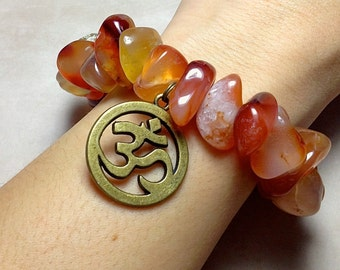 CARNELIAN Bracelet - SACRAL CHAKRA - Choose Charm: Hamsa Hand, Yoga Om Symbol Namaste, Tree of Life - 2nd Chakra Natural Polished Stone Cuff