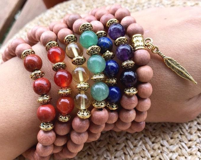 Featured listing image: SET of 7 CHAKRAS Bracelet - Red Jasper, Carnelian, Citrine, Green Aventurine, Lapis Lazuli, Amethyst, Quartz | Chakra Bracelet yoga bracelet